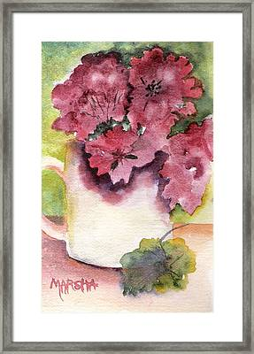Geraniums In A Cup Framed Print