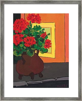 Geraniums In Saint-pompon Framed Print