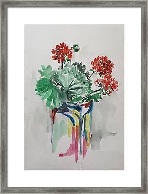Geraniums In Vase Framed Print by Rita Fetisov