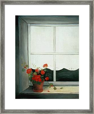 Geraniums In Window Framed Print by Glenda Barrett