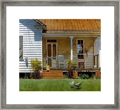 Geraniums On A Country Porch Framed Print by Doug Strickland