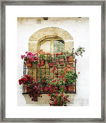 Geraniums On Balcony Framed Print