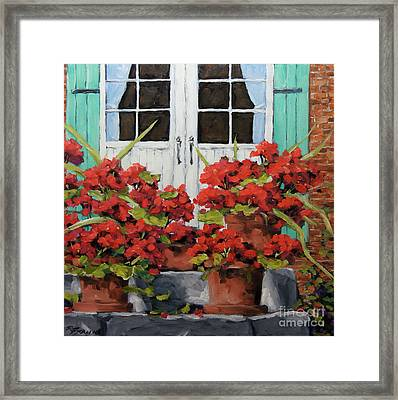 Geraniums On The Porch Framed Print by Richard T Pranke