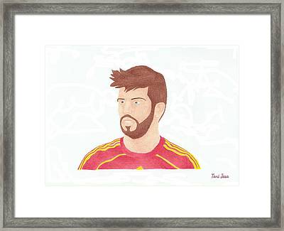 Gerard Pique Framed Print by Toni Jaso