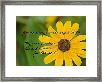 Gerber Daisy Quote Framed Print by JAMART Photography
