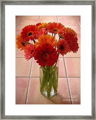 Gerbera Daisies - On Tile Framed Print by Lucyna A M Green