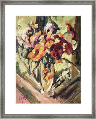 Gerberas In Glass Vase Framed Print