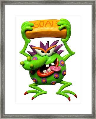 Germ Monster Framed Print by Amy Vangsgard