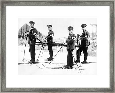 German Ambulance On Skis Framed Print by Underwood Archives