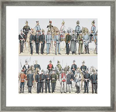 German Army And Cavalry Uniforms At The Framed Print