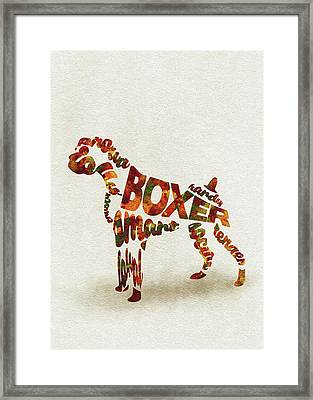 German Boxer Watercolor Painting / Typographic Art Framed Print