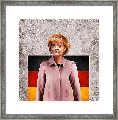 German Chancellor Angela Merkel  Framed Print by Lee went