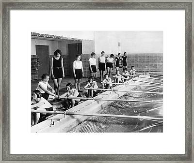 German Girls Learn Rowing Framed Print by Underwood Archives