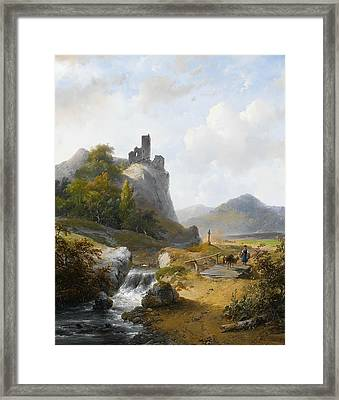 German Landscape With Ruin Framed Print by Andreas Schelfhout