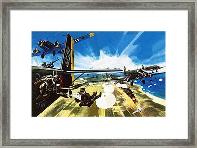 German Paratroopers Landing On Crete During World War Two Framed Print by Wilf Hardy