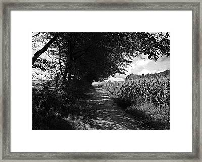 German Path Black And White Framed Print by Edward Myers