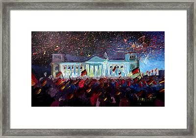 German Reunification Party In Berlin With Firework Framed Print by M Bleichner