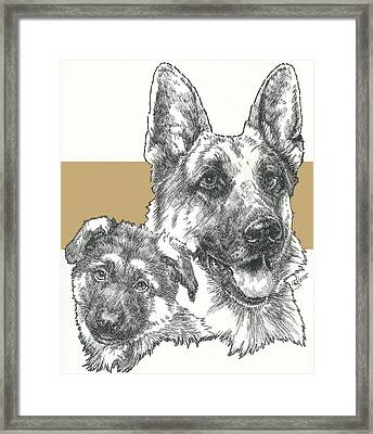 German Shepherd And Pup Framed Print by Barbara Keith
