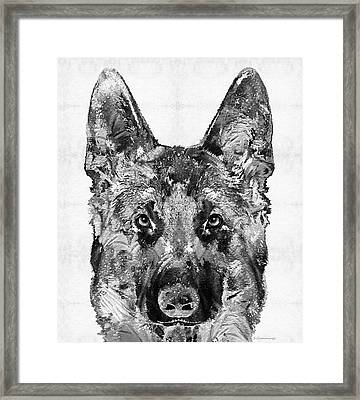 Framed Print featuring the painting German Shepherd Black And White By Sharon Cummings by Sharon Cummings