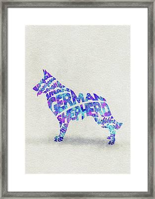 German Shepherd Dog Watercolor Painting / Typographic Art Framed Print