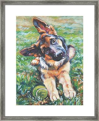 German Shepherd Pup With Ball Framed Print by Lee Ann Shepard