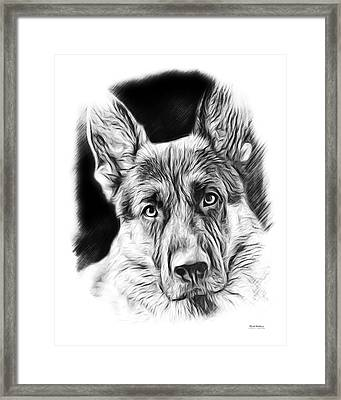 German Shepherd Sketch Framed Print