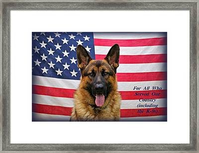 German Shepherd - U.s.a. - Text Framed Print by Sandy Keeton