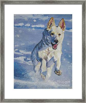 German Shepherd White In Snow Framed Print
