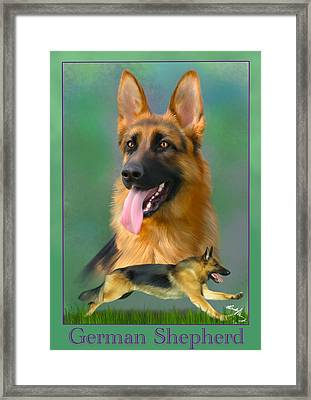 German Shepherd With Name Logo Framed Print