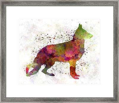 German Sherpherd Dog 01 Watercolor Framed Print