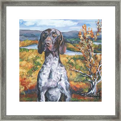 German Shorthaired Pointer Autumn Framed Print by Lee Ann Shepard