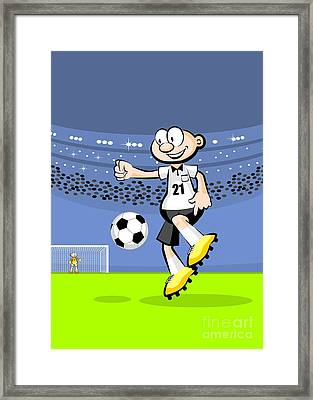 German Soccer Player Dominates The Ball In The Middle Of The Field Framed Print