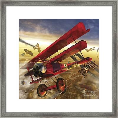 German Triple Wing Bi-plane The Red Framed Print by Kurt Miller