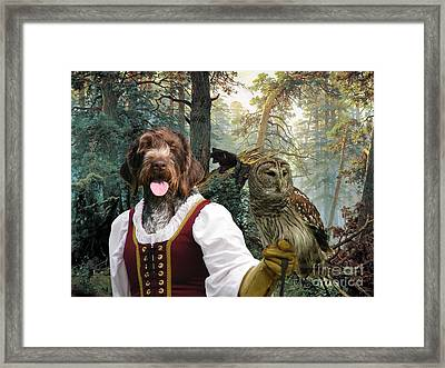 German Wirehaired Pointer Art Canvas Print - Lady Owl And Little Bears Framed Print