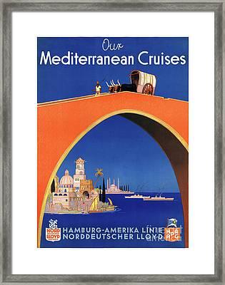 Germany Hamburg Vintage Travel Poster Restored Framed Print by Carsten Reisinger
