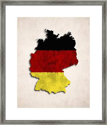 Germany Map Art With Flag Design Framed Print by World Art Prints And Designs