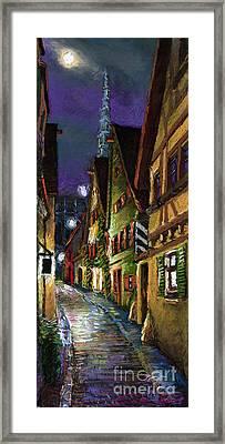 Germany Ulm Old Street Night Moon Framed Print by Yuriy  Shevchuk