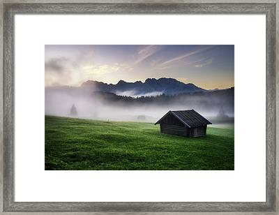 Geroldsee Forest With Beautiful Foggy Sunrise Over Mountain Peaks, Bavarian Alps, Bavaria, Germany. Framed Print