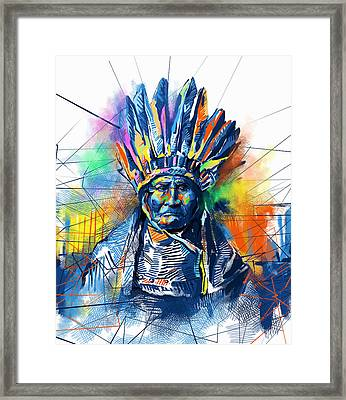 Geronimo Watercolor Portrait Framed Print