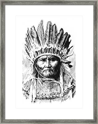 Geronimo With Feathers Framed Print