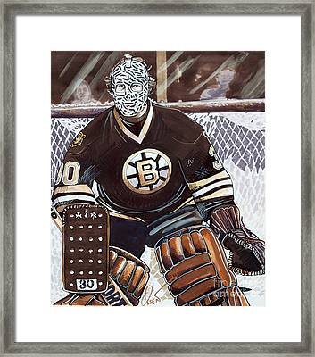 Gerry Cheevers Framed Print by Dave Olsen