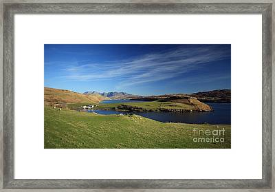 Gesto Bay And The Cuillins Framed Print by Maria Gaellman