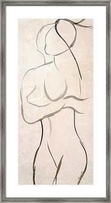 Gestural Nude Sketch Framed Print by Angela Murray
