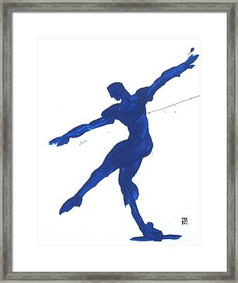 Framed Print featuring the painting Gesture Brush Blue 2 by Shungaboy X