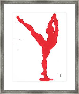 Gesture Brush Red 1 Framed Print by Shungaboy X
