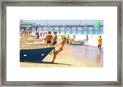 Get Her Out To The Surf Lifeboat Watercolor Framed Print