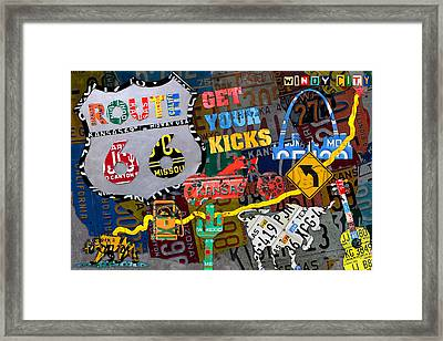 Get Your Kicks On Route 66 Icons Along The Highway Recycled Vintage License Plate Art Framed Print by Design Turnpike