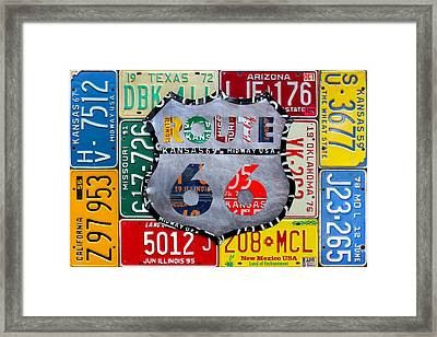Get Your Kicks On Route 66 Recycled Vintage State License Plate Art By Design Turnpike Framed Print by Design Turnpike