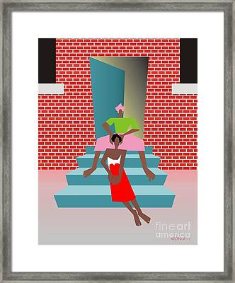 Gettin Her Hair Did Framed Print by Walter Oliver Neal