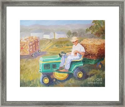 Gettin' In Hay Framed Print